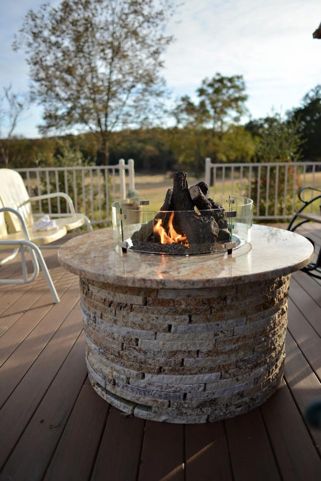 Granite Fire Pit with Glass